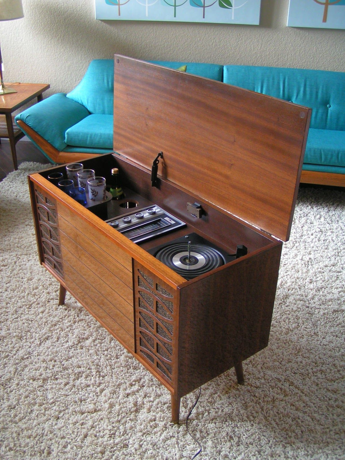 Vintage Morse AM/FM, Phono Console With Built-In Bar/ I ...