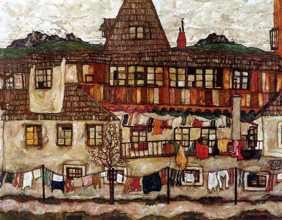 Egon Schiele, Case con panni stesi (1917) | Grande arte, Paesaggi,  Paesaggio astratto