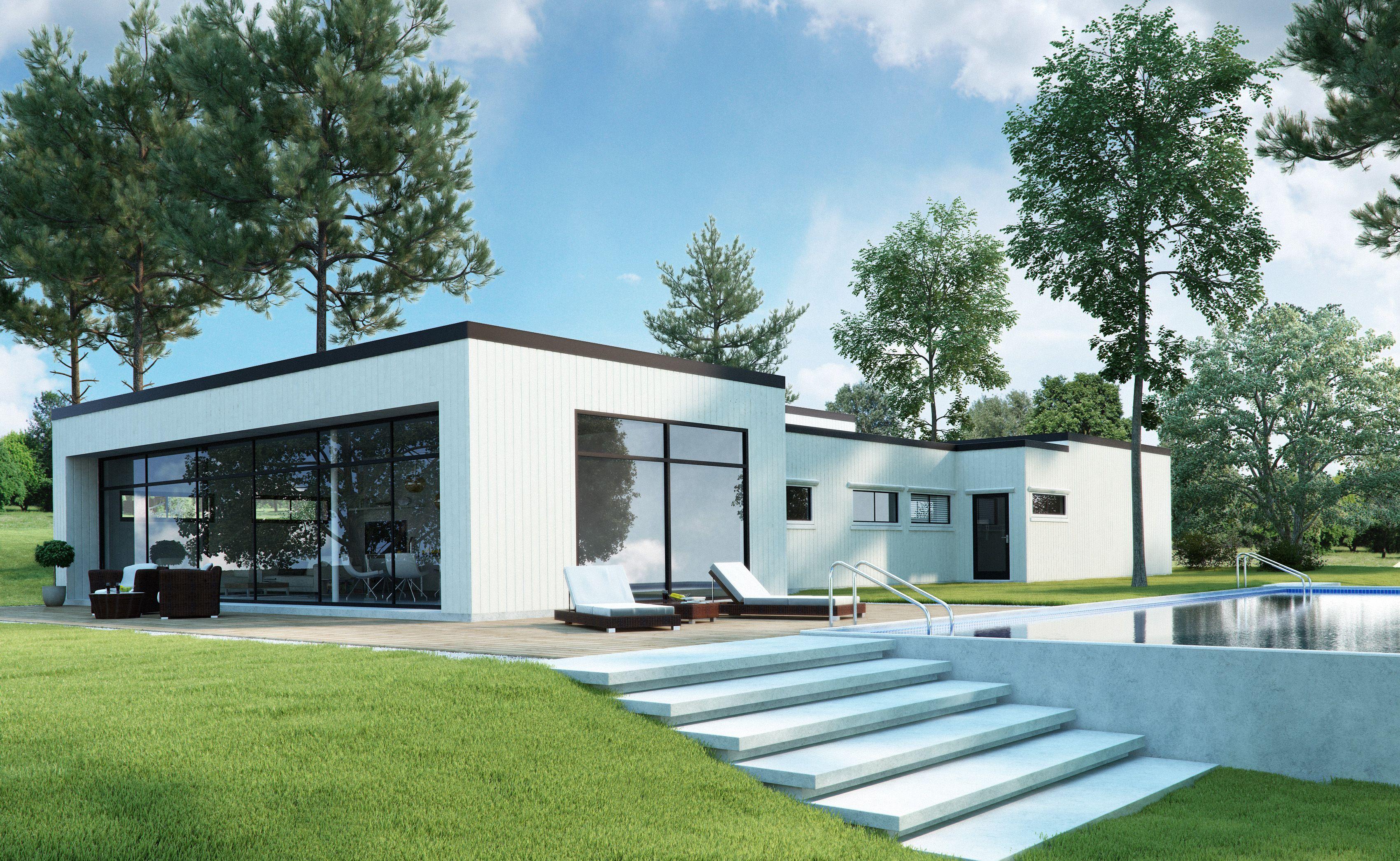 bilderesultat for ett plan hus moderne - Moderne Huser 2015