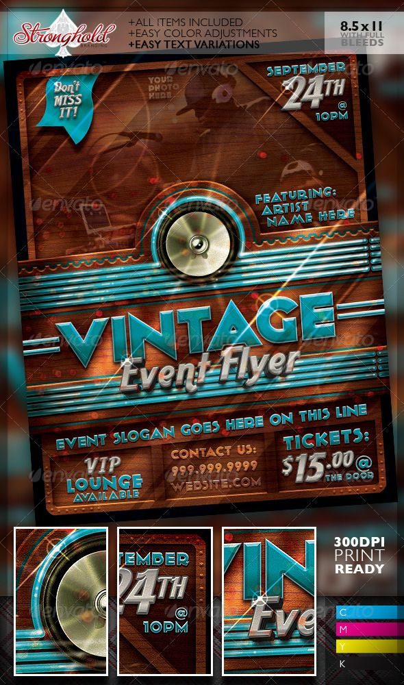 Vintage Neon Event Party Flyer Template  Flyer Template Party