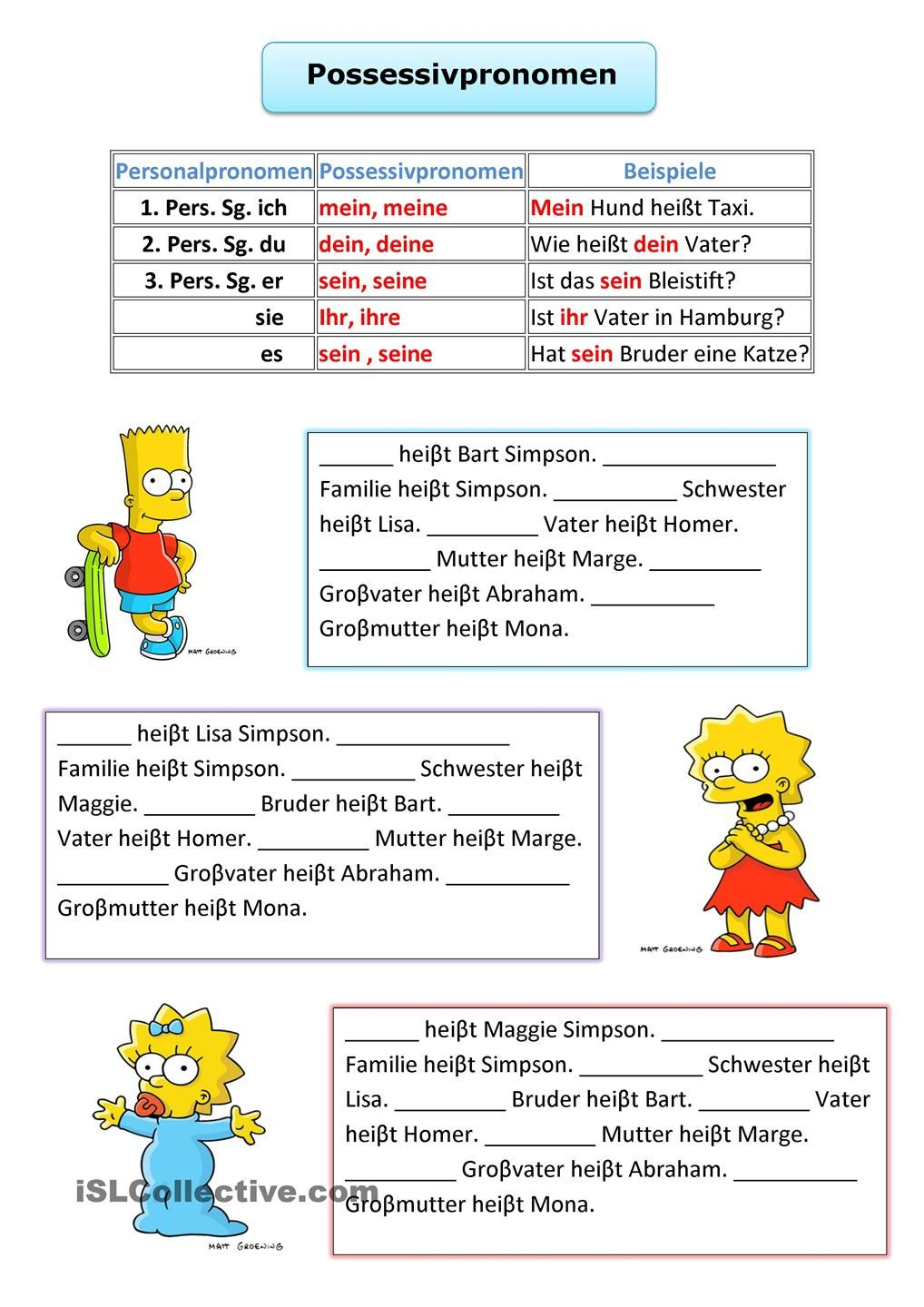 Possessivpronomen | edudeutsch | Pinterest | German, Deutsch and ...