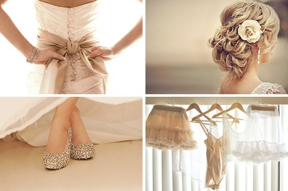 white dress with creme (brown) accents