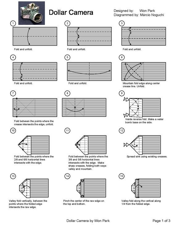 Camera Diagram (1 of 3) Money Origami Dollar Bill Art ... - photo#34