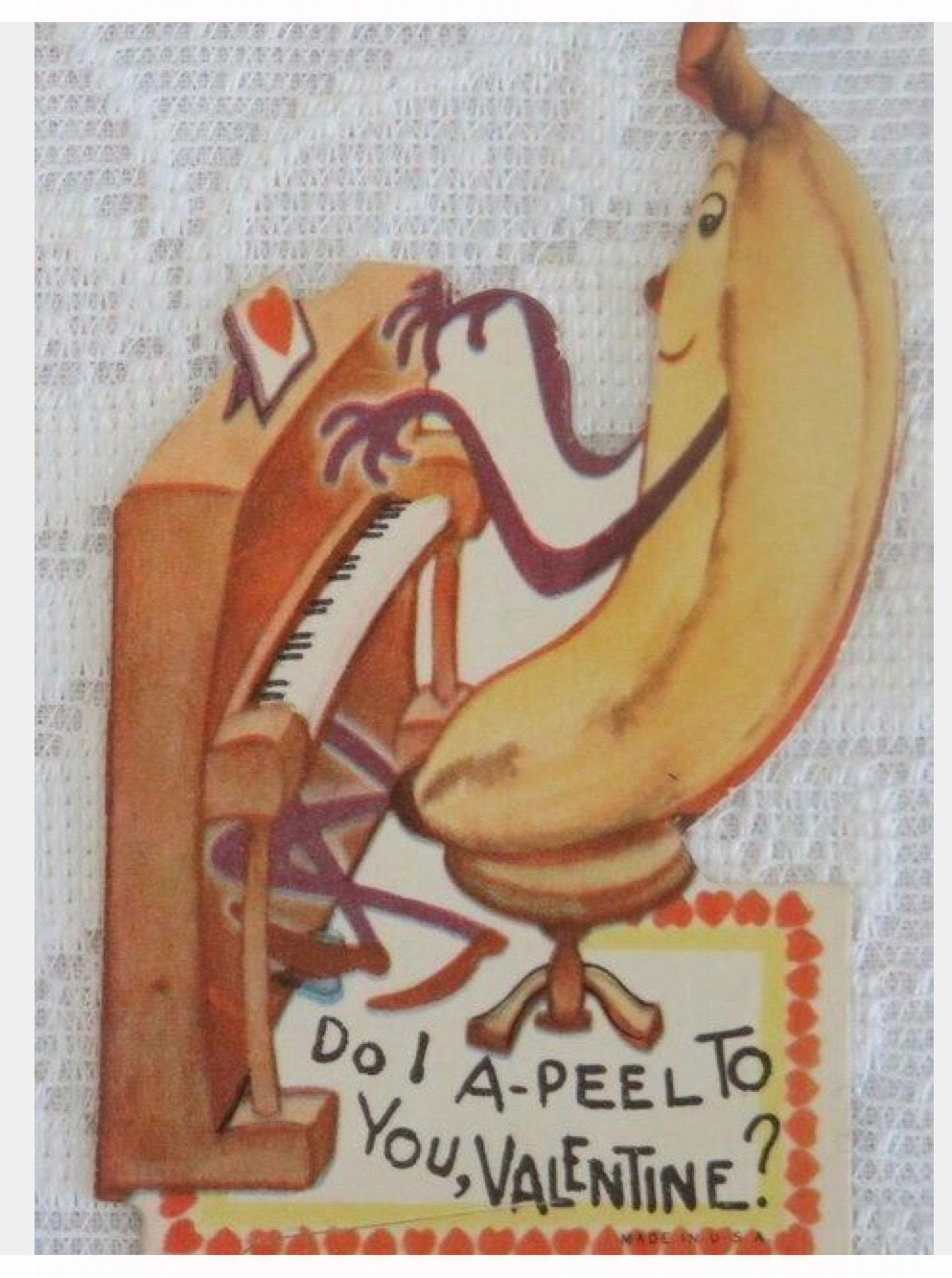 vintage valentine piano playing banana  valentine