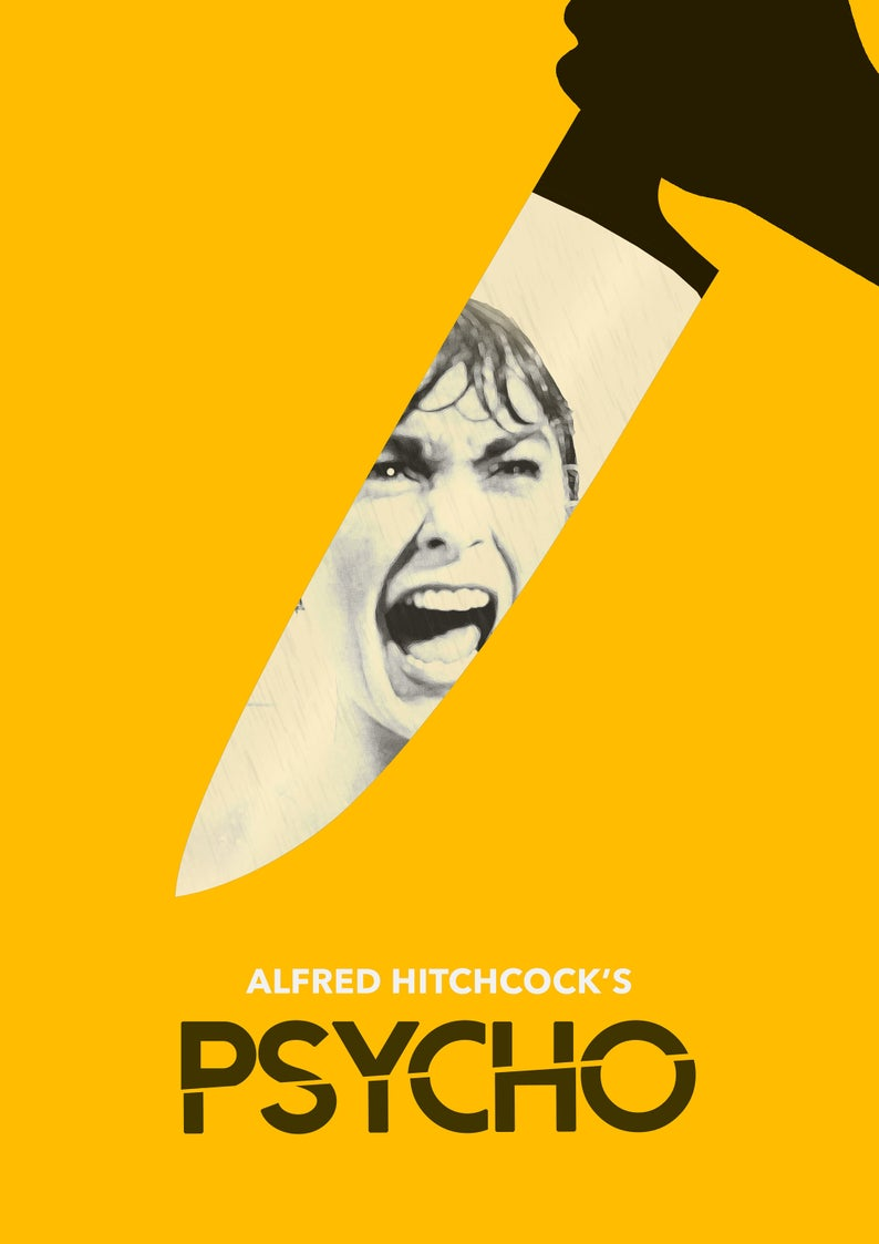 PSYCHO Alfred Hitchcock Movie Art Print /  Film Poster also   Etsy