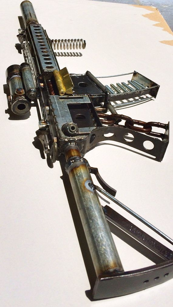 Scrap metal assault rifle sculpture ar15 m4 by devincahow on etsy up cycle pinterest - Simple metal art projects ...