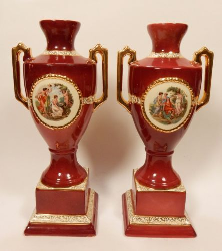 Empire Ware England Pair Portrait Urn Vase Red Classical Grecian