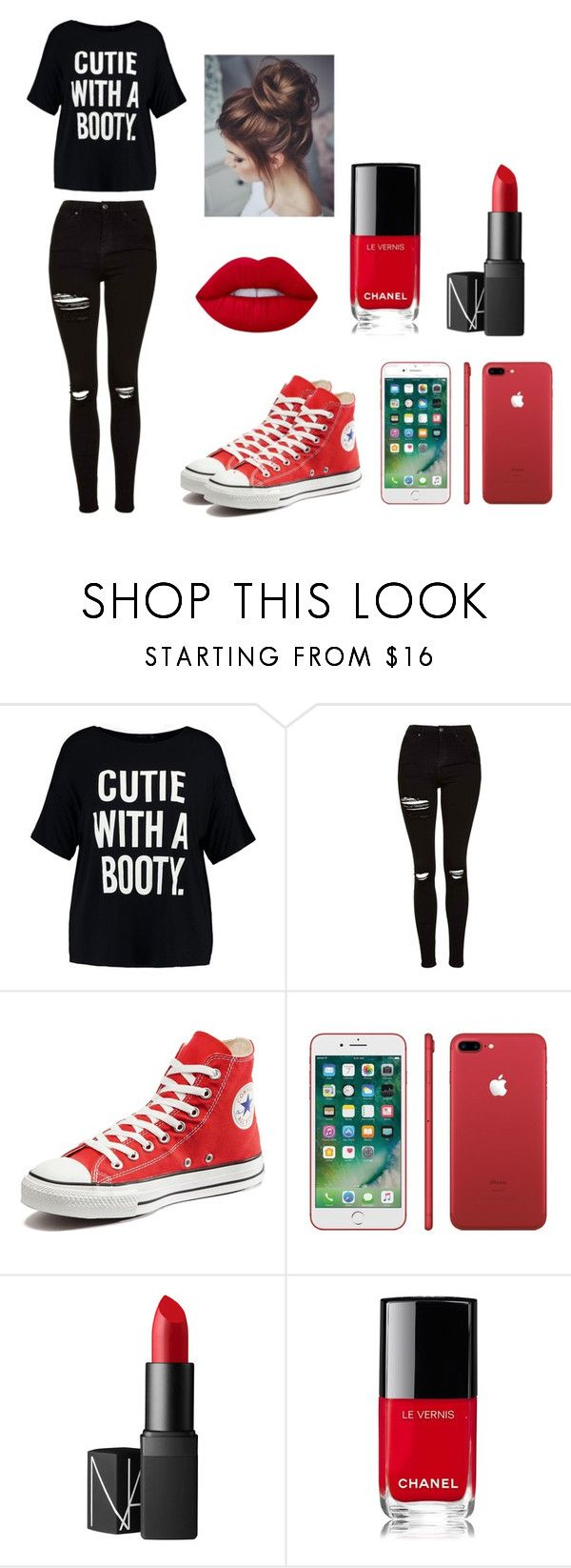 """""""Contest #4"""" by bartlett-panthers on Polyvore featuring Boohoo, Topshop, Converse, NARS Cosmetics, Chanel and Lime Crime"""