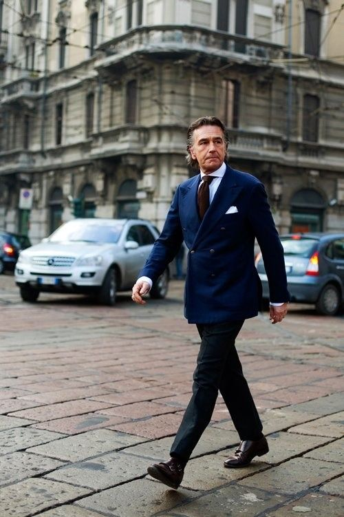 release date 821ea 747c1 Look the best you possibly can in a navy double breasted blazer and black  suit pants