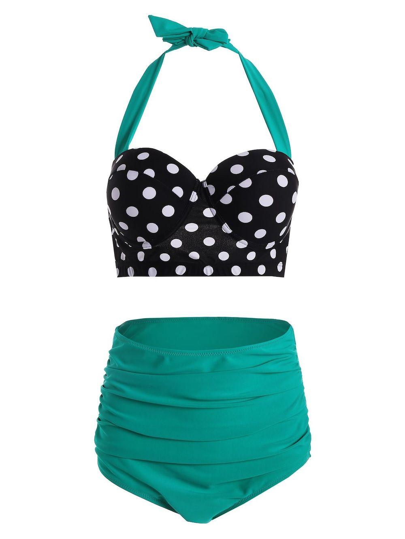 238e07402a537 Plus Size Polka Dot Pin Up Halter Push Up Bikini Bathing Suit ...