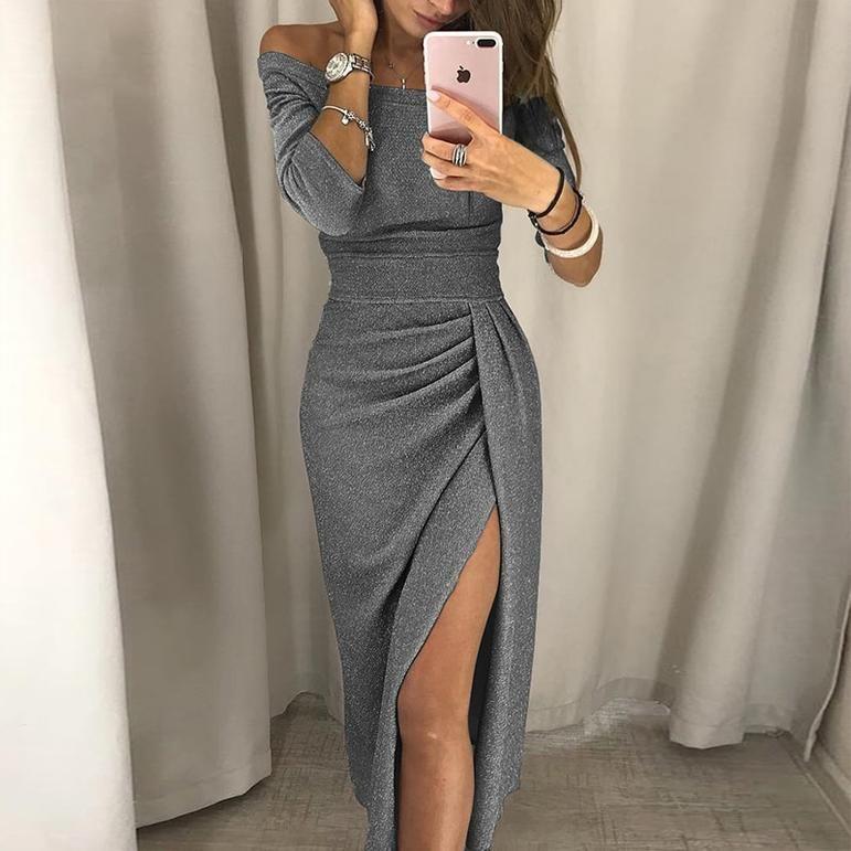 Photo of Elegant Off Shoulder High Split Shiny Bodycon Dress