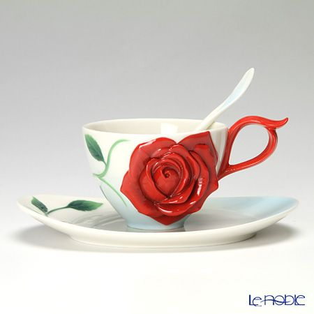Charming Franz Collection Romance Of The Rose Cup/Saucer/Spoon Set Nice Design