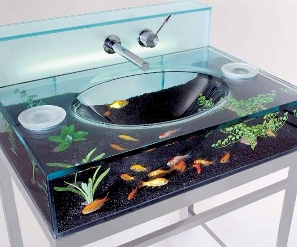 Amazing Unique Bathroom Sink Design With Glass Aquarium As The ...