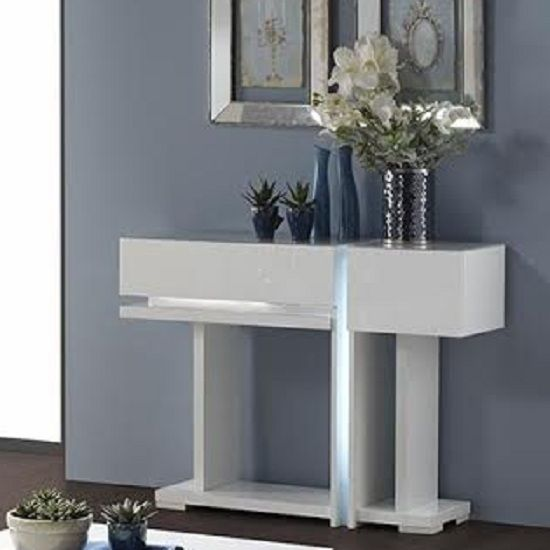 Nicoli Console Table In White High Gloss With 2 Drawers TBD82