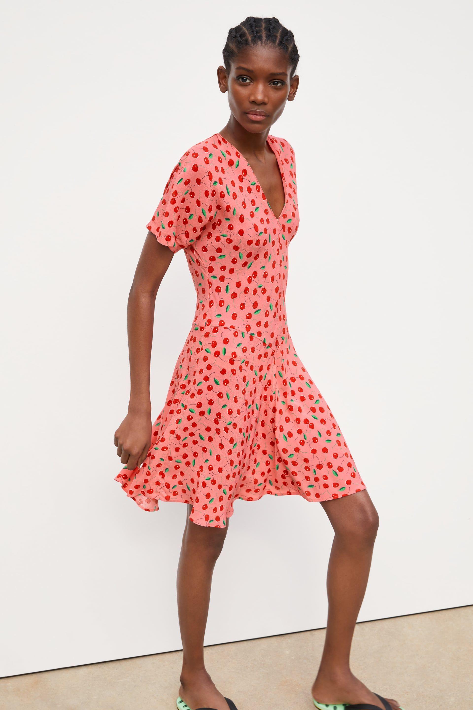 Cherry Print Dress New In Trf Zara United States Print Dress Dresses Cherry Print Dress