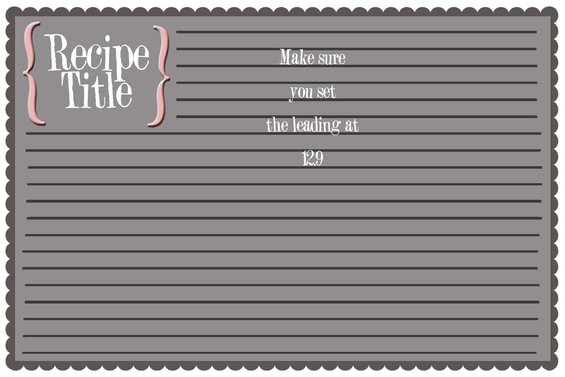 Templates For Recipe Cards fees receipt format – Word Template Recipe Card