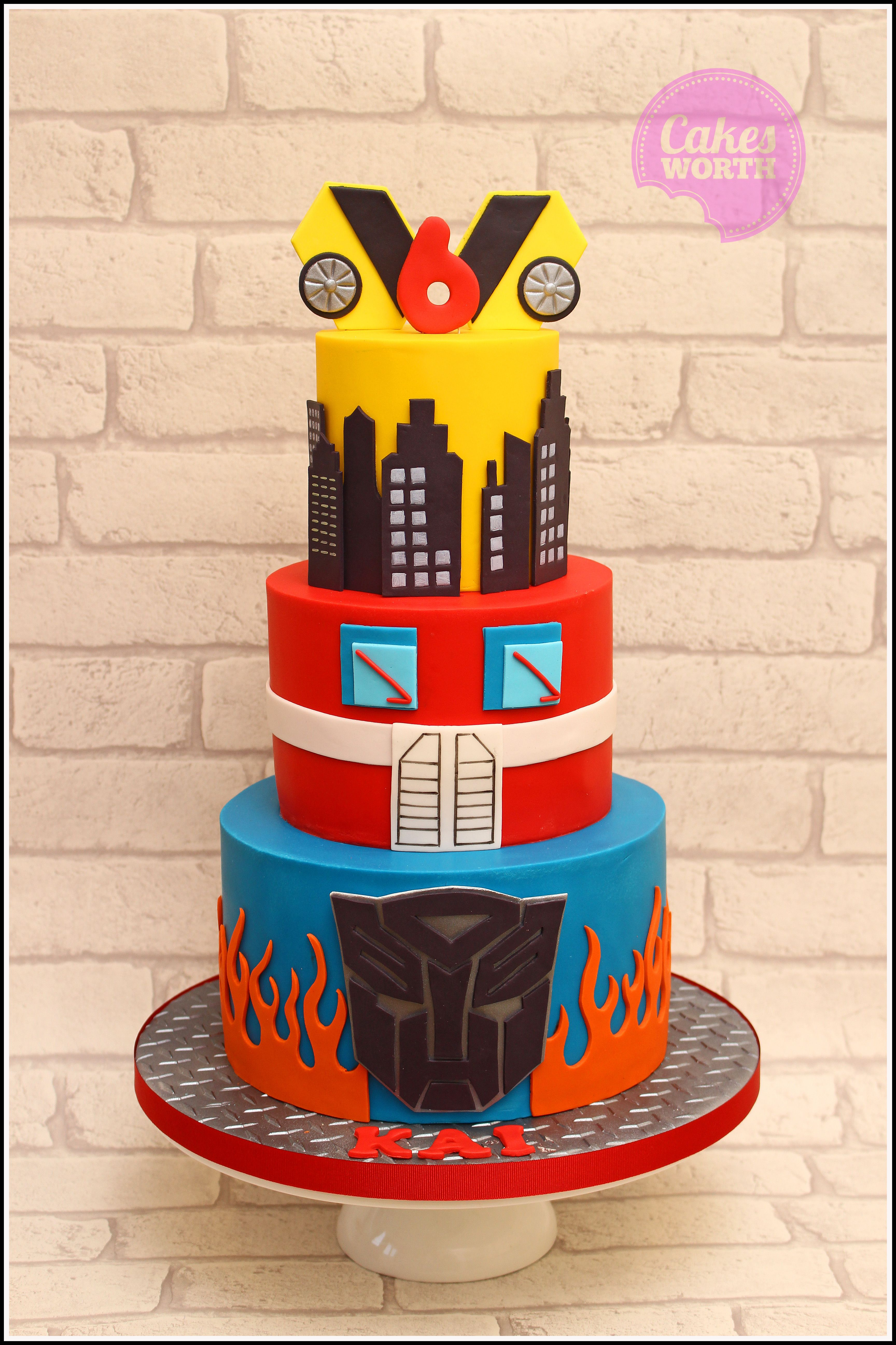 Transformers 3 Tier Birthday Cake