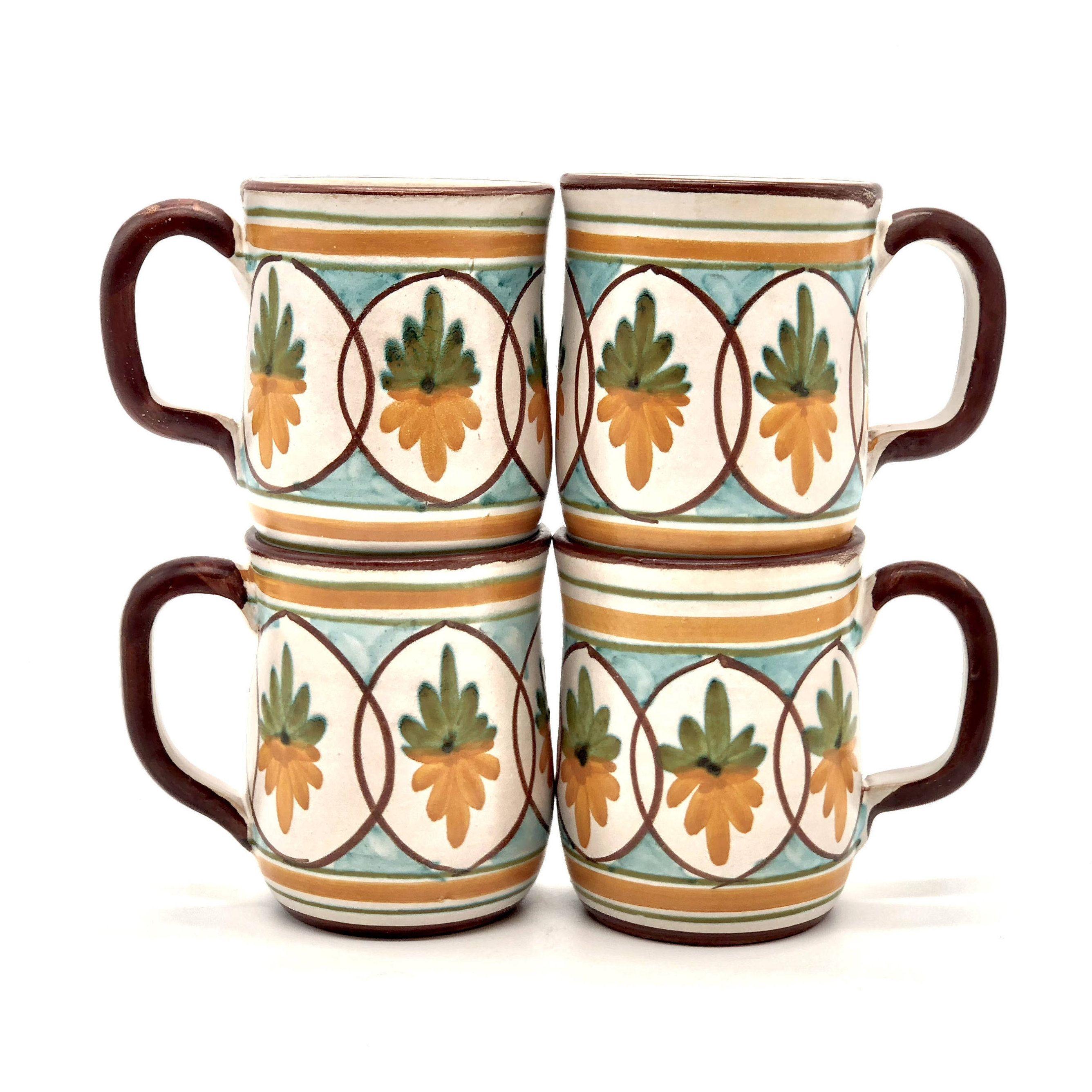 Italian Coffee Cups, 70s Ceramic Mug Set of 4 by