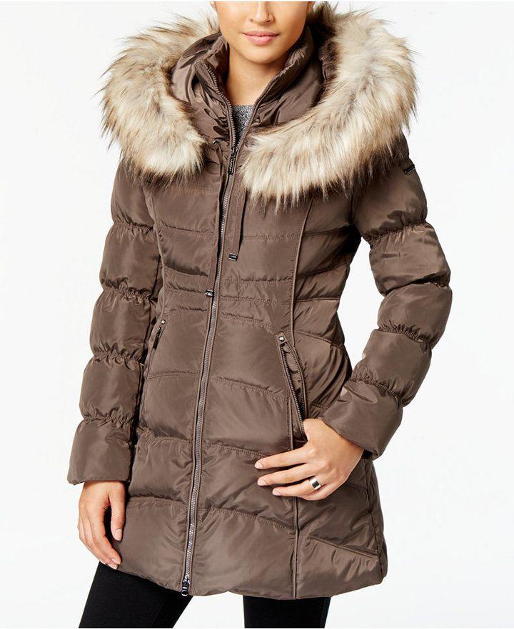Laundry By Shelli Segal Faux Fur Trim Down Puffer Coat Abrigos