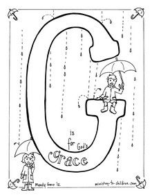 For the letter G we used the concept of God's Grace as one