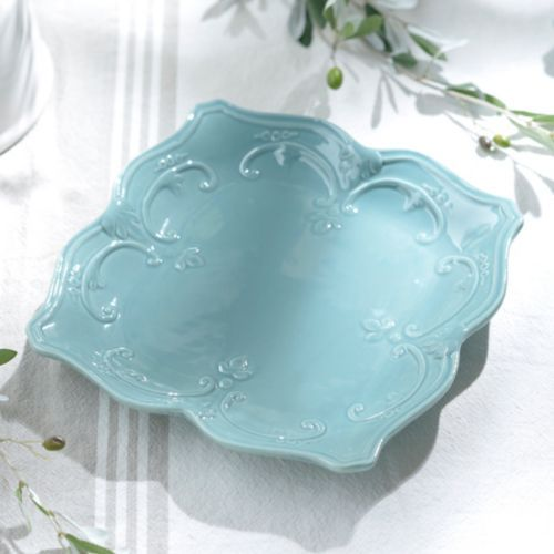 Part of the sweet olive dinnerware collection this turquoise ceramic dinner plate features an elegant vine design and beautifully scalloped edges. & Turquoise Sweet Olive Dinner Plate | Dining and Apartments