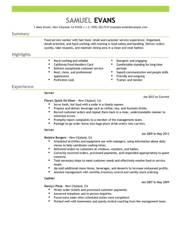 Resume Sample Server Resume Good Resume Examples Resume Template Examples