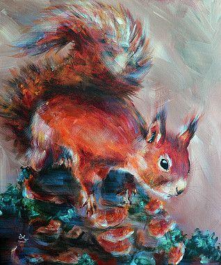 mes travaux l 39 acrylique l 39 huile au pastels des tableaux aux th mes vari s ecureuil roux. Black Bedroom Furniture Sets. Home Design Ideas