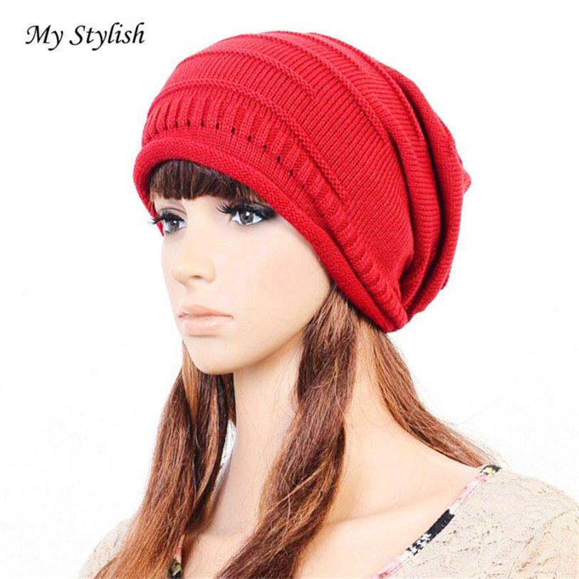 d68922cd116 Click to Buy    1PCSWomen Winter Crochet Hat Wool Knit Beanie Warm Caps ·  Sun Hats For WomenMen ...