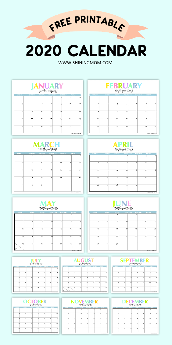 Free Printable 2020 Calendar So Beautiful & Colorful