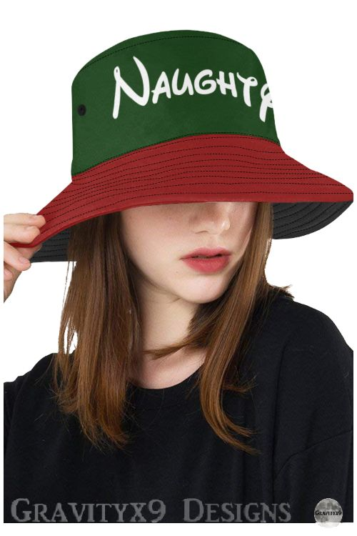 * Christmas - Don't Tell Santa... #Naughty (Red and Green) Christmas Print All Over Bucket Hat by #Gravityx9 at #Artsadd  * Perfect for holiday activities and  Christmas Parties . Eyelets for breathability. Unisex for men and women. * bucket hat for naughty women * bucket hat for naughty men * Christmas hat  * #naughtyornice #naughtyhat #Buckethat #hat #Christmashat #noveltyhat #noveltybuckethat #noveltycap #noveltywear #noveltycap #hatformen #hatforwomen #unisexhat  #ilovexmas #christmas 1119