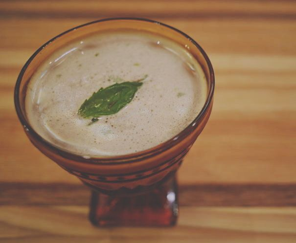 """Bourbon apricot and basil make a beautiful (and highly drinkable) combination. Check out """"The Mountain View"""" here: http://ift.tt/1WG7yUx #valcohol #craftcocktails #chicagococktails #windycitybloggers #cocktailblogger @basilhaydens #rothmanwinterapricot @hellabitters by _valcohol"""