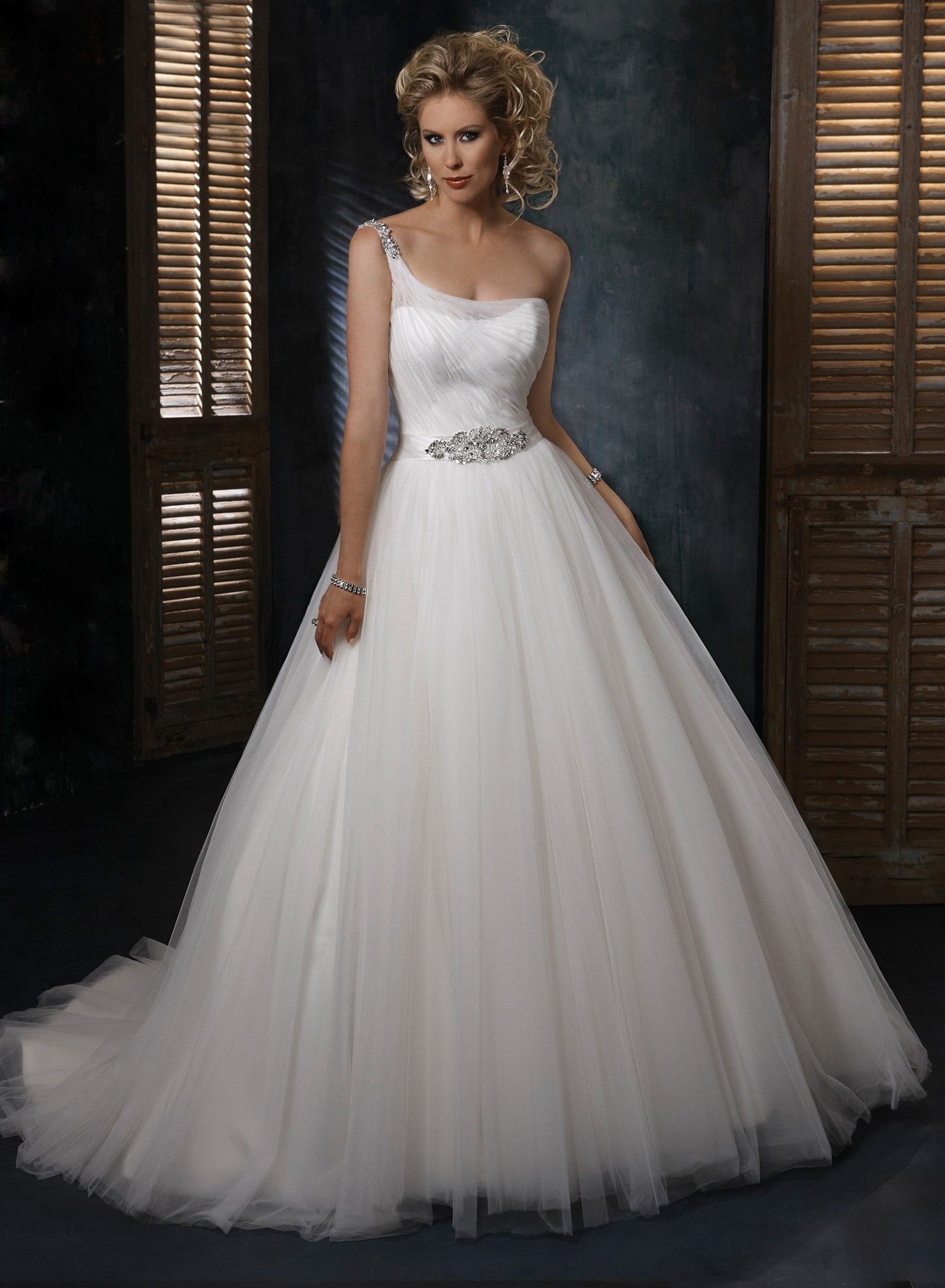 Fabulous Tulle and Organza One shoulder Neckline Ball Gown Wedding Dress