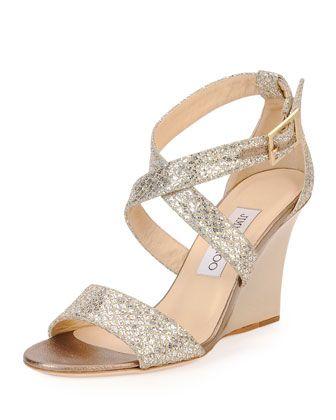 5908f0d069 Fearne Glitter Crisscross Wedge Sandal, Champagne by Jimmy Choo at Bergdorf  Goodman.