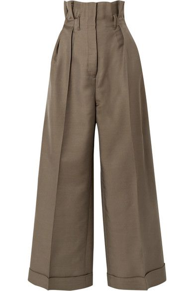 Army green Perrie wool-blend twill wide-leg pants | Acne Studios
