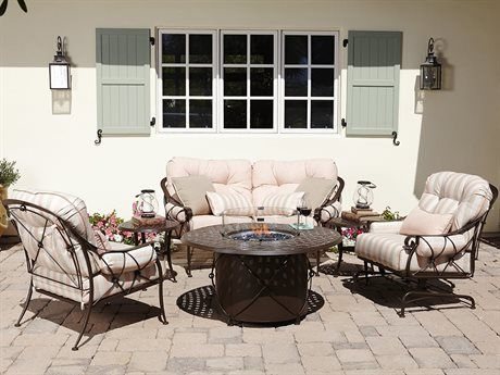 Woodard Derby Wrought Iron Fire Pit Lounge Set Outdoor Dining Chairs Lounge Chair Outdoor Outdoor Furniture Sets