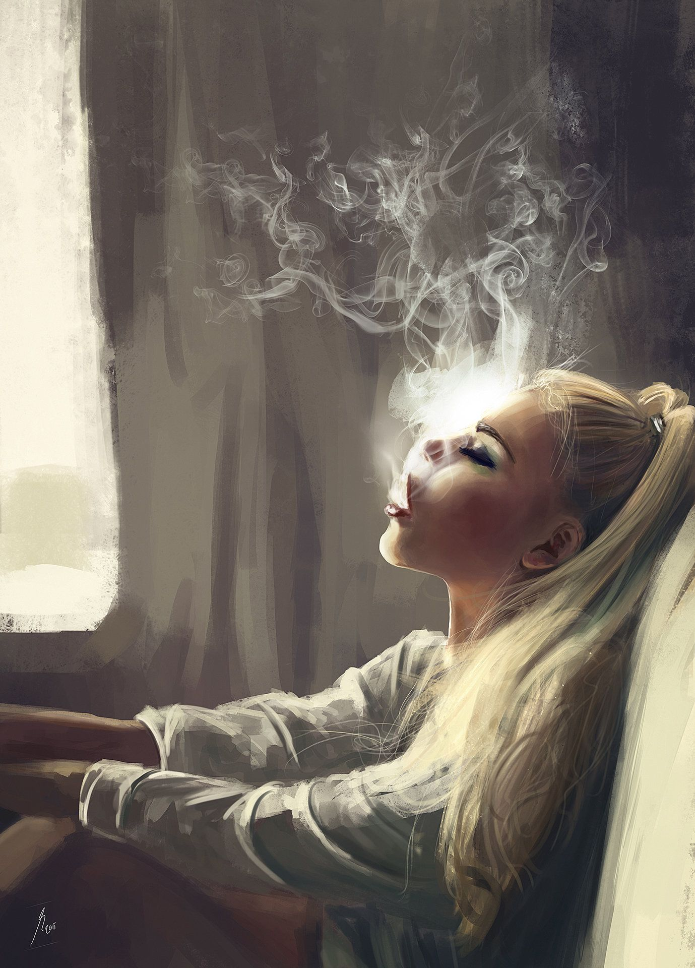 Smoking Girl Superb #digitalart #portrait Reha Sakar Artist Of Day In 2019