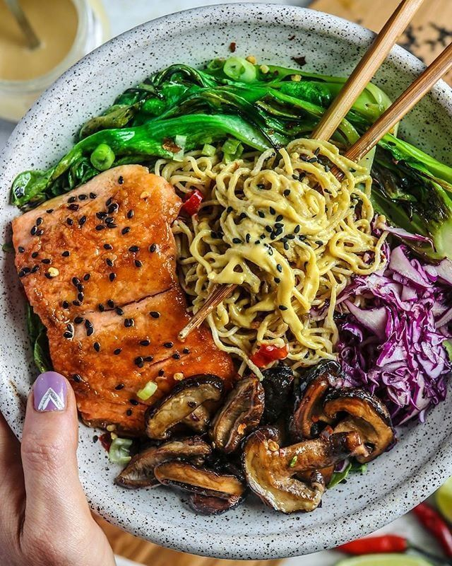 Bok choy, mushrooms, cabbage, tahini noodles and teriyaki salmon