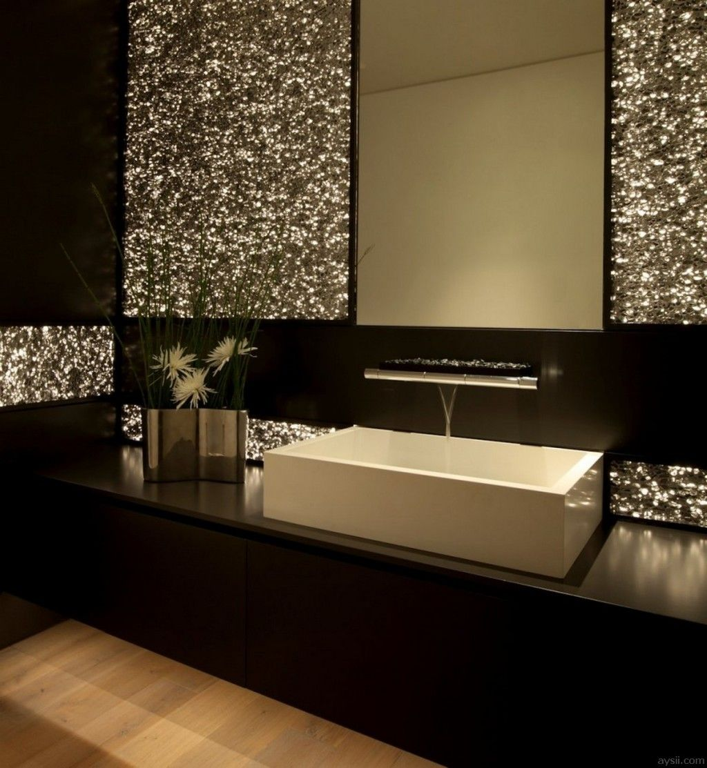 Home glamorous bathroom decor with dark brown vanity for Black bling bathroom accessories