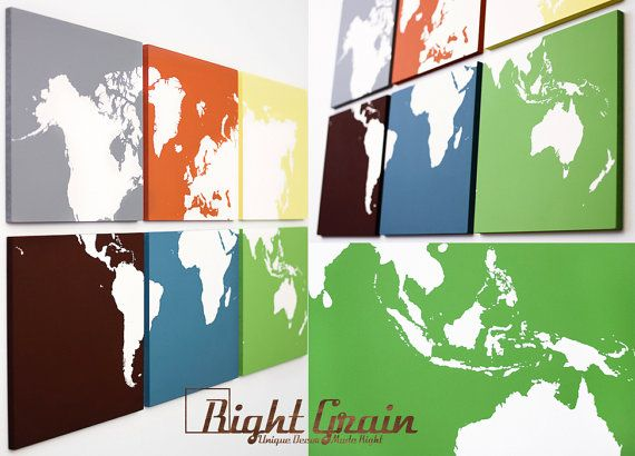 Large modern painting world map wall artwork canvas art large modern painting world map wall artwork canvas art personalized gift on etsy gumiabroncs Choice Image