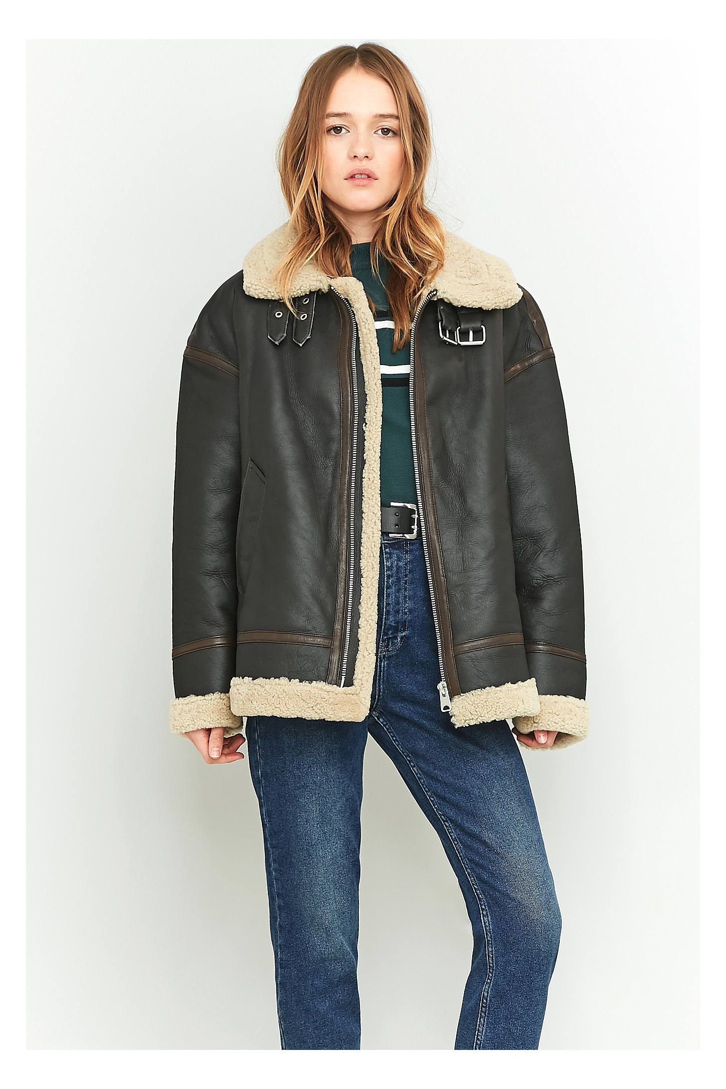 Light Before Dark Sheepskin and Brown Leather Jacket