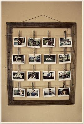 White Woods Vintage: Little Things. Wooden picture frame with twine and clothes pins