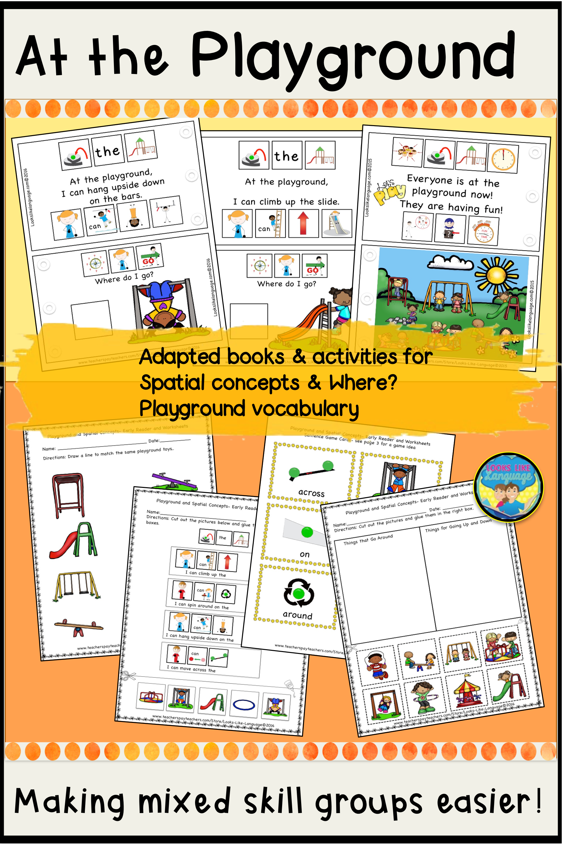 This Adapted Picture Book For Where And Spatial Concepts Has Worksheets And Activities To Build Communica Playground Activities Spatial Concepts Adapted Books [ 2704 x 1804 Pixel ]