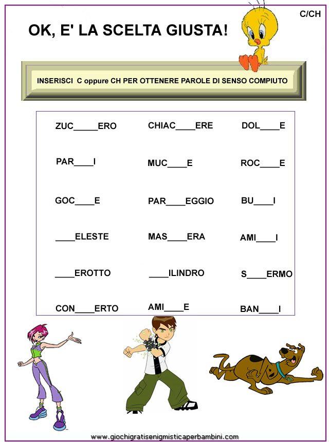C ch schede didattiche seconda italiano for Parole con mp per bambini
