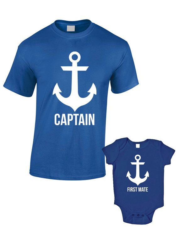 a3ffbe93 Captain and First Mate T-Shirts or Baby Grow - Matching Father Child Gift  Set (2 shirts) - Father's Day Present Mum Son Daughter Dad Sailor