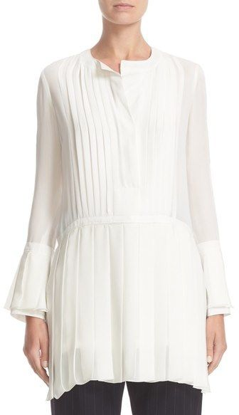 Victor Alfaro Pleated High/Low Silk Blouse