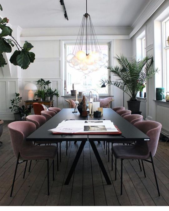 Nice Dusky Lilac Pink Velvet Dining Chairs Look Fantastic In This Dining Room  And Work Well With The House Plants.   Diningroom   Pinterest   Room Goals,  ...