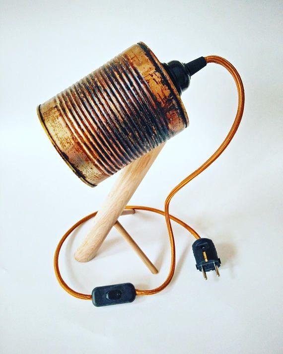 Vintage Look Blik Schemerlamp Tin Can Lamp Tafellamp Blik Nachtlampje Oud Blik Lamp Op Beuken Houten Poot Recycle Cans Recycling Table Lamp