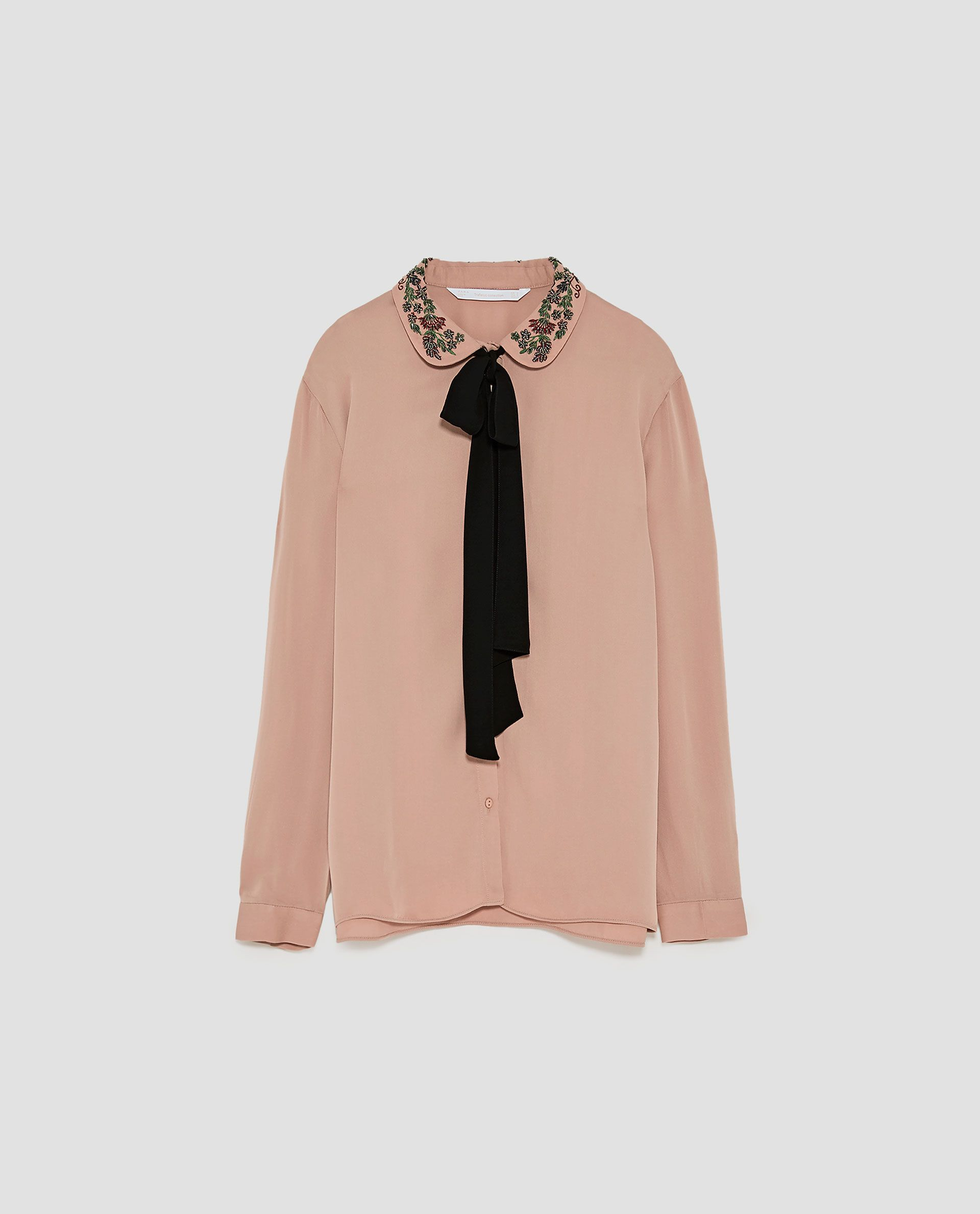 Image 8 Of Shirt With Embroidered Collar And Bow From Zara My