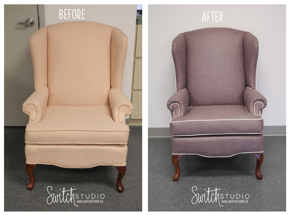Switch Studio Before U0026 Afters: Reupholstered Wingback Chair. Mauve With  Cream Piping. Cute
