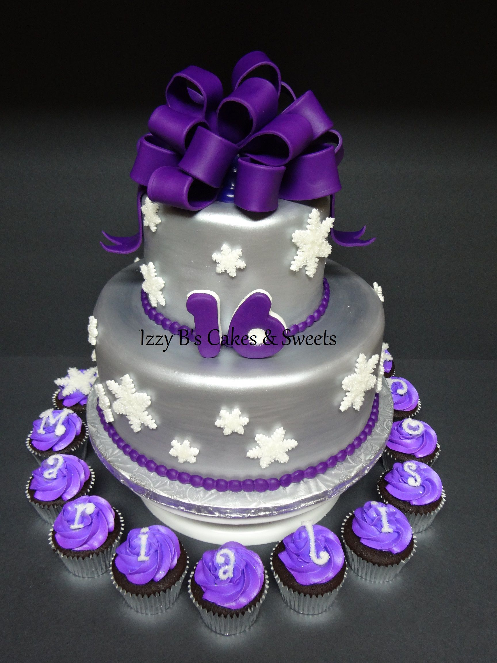 Purple And Silver Winter Sweet 16 Cakes Sweet 16 Cakes